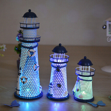 1pc Desk Decor Lighthouse Figurines Metal Craft Light House Beacon Home Decoration Maritime Navigation Night Light House P0.2(China)