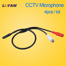 LOFAM 4pcs/lot Audio pick up Surveillance Wide Range Mini CCTV Microphone for Security CCTV Camera and DVR NVR