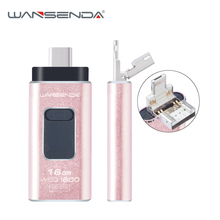 Wansenda lightning OTG USB Flash Drive the first 4 in 1 Pendrive for iPhone/IOS/Type-C/Android/PC 64GB 32GB 16GB pen drive