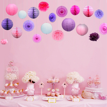 Set of 20pcs Sweet Purple Pink Wedding Party Decor Sets Decorative Flowers Birthday Party Baby Shower Hangings