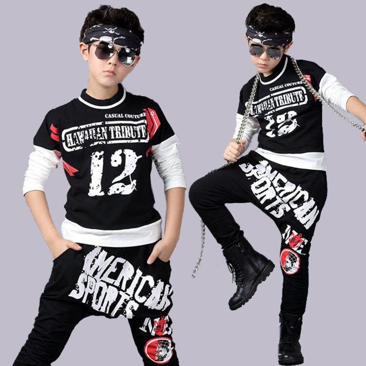 2017 Spring Children`s Sports Suit Boy Casual Tracksuit Kids Hip Hop Dancewear Boys Summer Clothes Cool Fashion Black White <br><br>Aliexpress