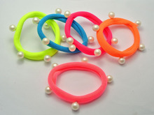 20 Mixed Neon Color Pearl Studs Soft Fabric Elastic Hair Rope Band Ponytail Holder