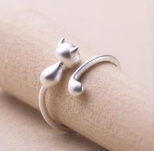 Silver Plated Jewelry Cute Cat Animal Ring For Women Good Gift Finger Ring Open Design 925 engraved