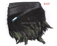 Fashion Feather 10yards/lots Black Coque Rooster Tail Feather Fringe Rooster feather trimming 5-6inch in width(China)