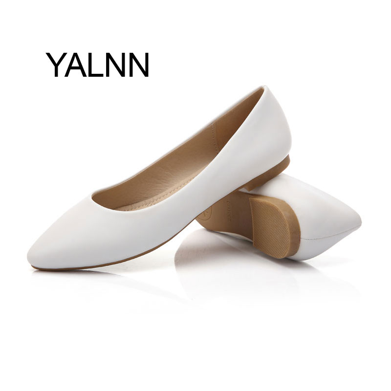 New Women Shoes Flats Pointed Toe Leather Girl Shoes 2017 Leather Platform Heels Shoes White Women<br><br>Aliexpress