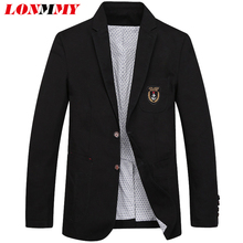 LONMMY M-4XL Mens blazers and jackets Cotton Linen Slim fit Wedding dress mens blazer jacket suit men Casual 2017 Spring Autumn