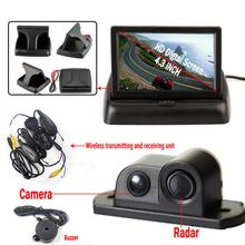 Wireless Car Parking Sensor System with 4.3'' LCD Monitor 2 in 1 Camera and Radar Parktronic Buzzer Reversing(China)