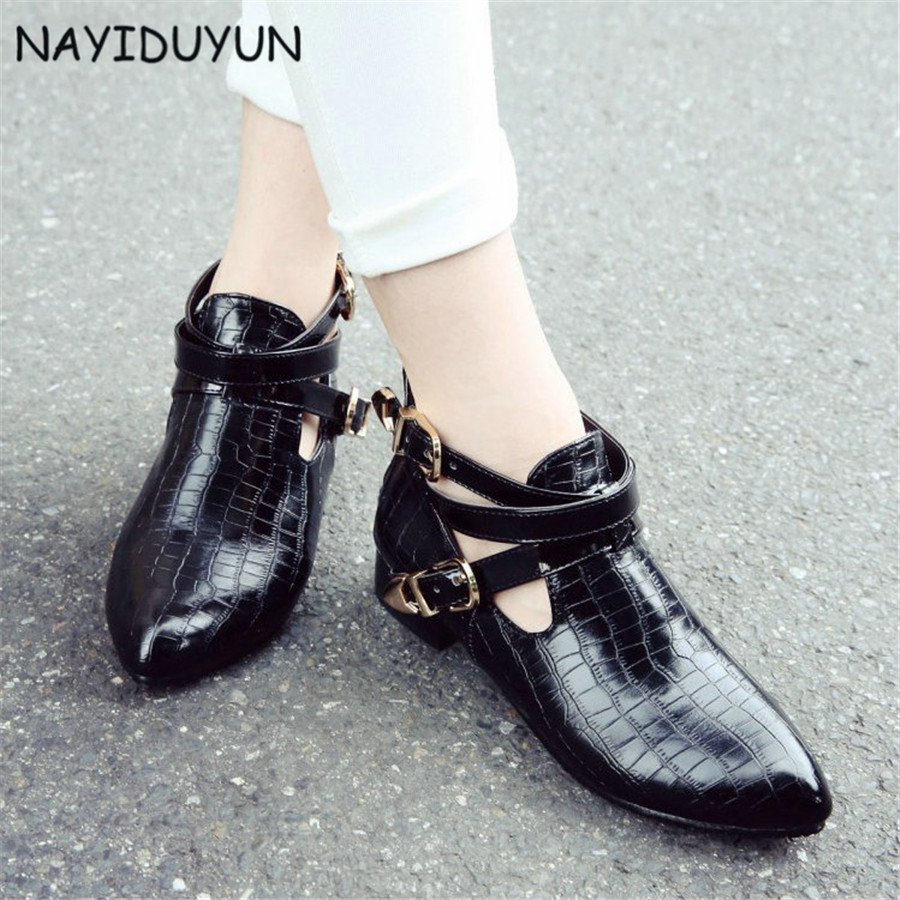 NAYIDUYUN    New Women Patent Leather Low Heels Strappy Ankle Boots Point Toes Cut Out Summer Pumps Casual Punk Oxfords Shoes<br>