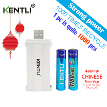 KENTLI 2pcs no memory effect 1.5v 1180mWh AAA lithium li-ion rechargeable batteries battery +2 channels lithium charger(China)