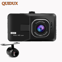 "QUIDUX FULL HD 1080P Car DVR Dual Lens 3"" Auto Video Recorder G-sensor Motion Detect Dash Cam With Rear Camera Parking Monitor"