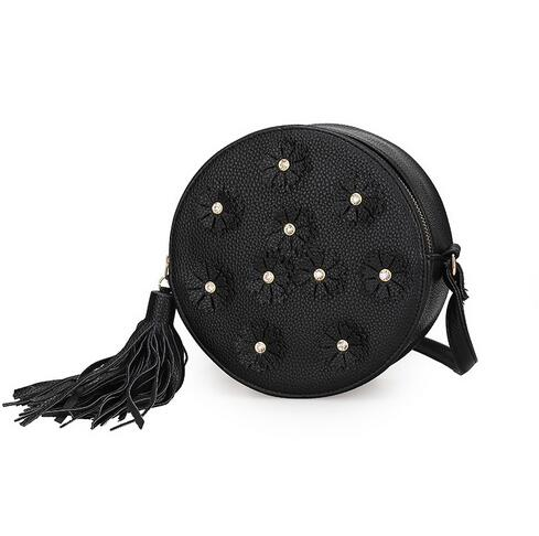 M185 Cute Knitting  Flower  Tassels  Round  Shoulder Bags Small Size Women Gift Wholesale<br><br>Aliexpress