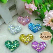 Kawaii Sequin Heart,flatback resin cabochon  Craft for phone deco  hair bow diy  Scrapbook Embellishment Free shipping