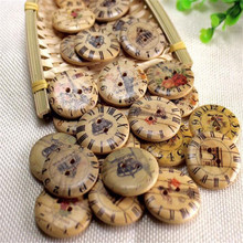 Random hybrid wooden clock button second round hole product process scrapbooks sewing accessories 3 cm 100 computers