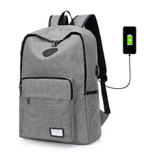 Men school backpack bag USB Charging Backpacks Laptop Backpack USB Charging Computer Backpacks Male Gray Daypack Women Mochila(China)