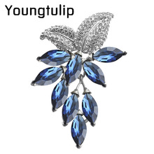 Youngtuip 3 color choose big crystal flower brooch grapes pins and brooches office lady brooch wedding jewelry high quality(China)