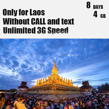 Laos Sim Card 8 Days Plan 4 GB Data 4G Speed Without Call Mobile Phone Card 3 IN 1 Travel Sim Card Only for Laos(China)