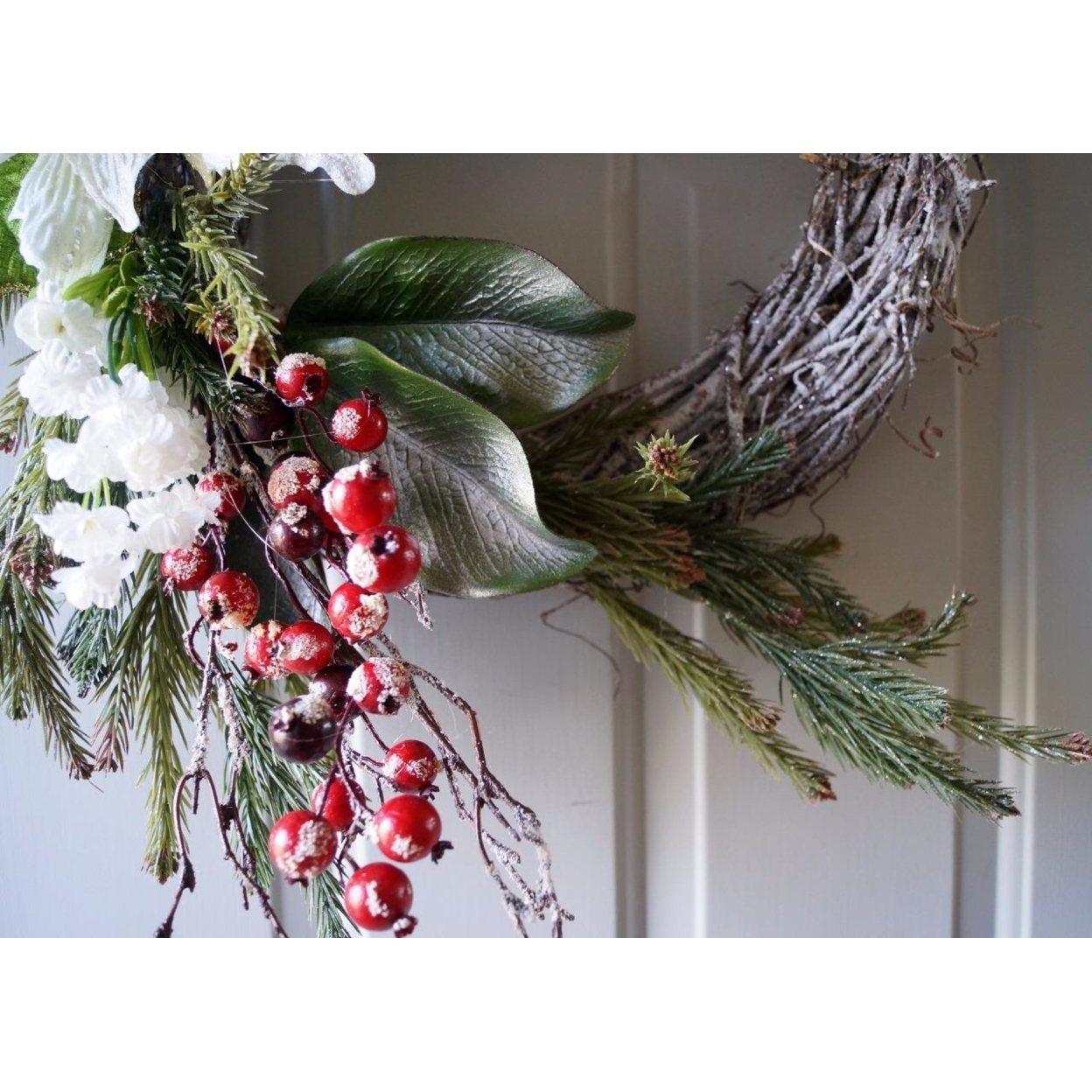 Winter Wreath, Christmas wreath, Christmas decoration, White Gold Red (4)