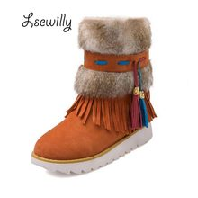New Autumn Winter Warm cheap shoes high knitting snow boots artificial scrub leather casual Bandage female ankle shoes ZT387
