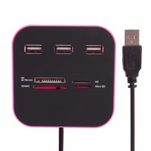 7 in 1 USB 2.0 Memory Card Reader Adapter Splitter Flash Card Adapters Cardreader 3 USB Ports Hub Combo Supports SD/MMC/M2/MS/TF
