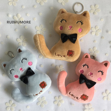 HOT 13cm Kawaii BIG LOVE Cat Plush Stuffed Toy Doll , CUTE Bowtie Plush Cats - Kid's key chain pendant Gift toys