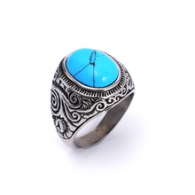 2017 Retro Natural Black Blue Turquoises Rings Men Vintage Stainless Steel Titanium Ring Male Ringen Jewelry bague homme