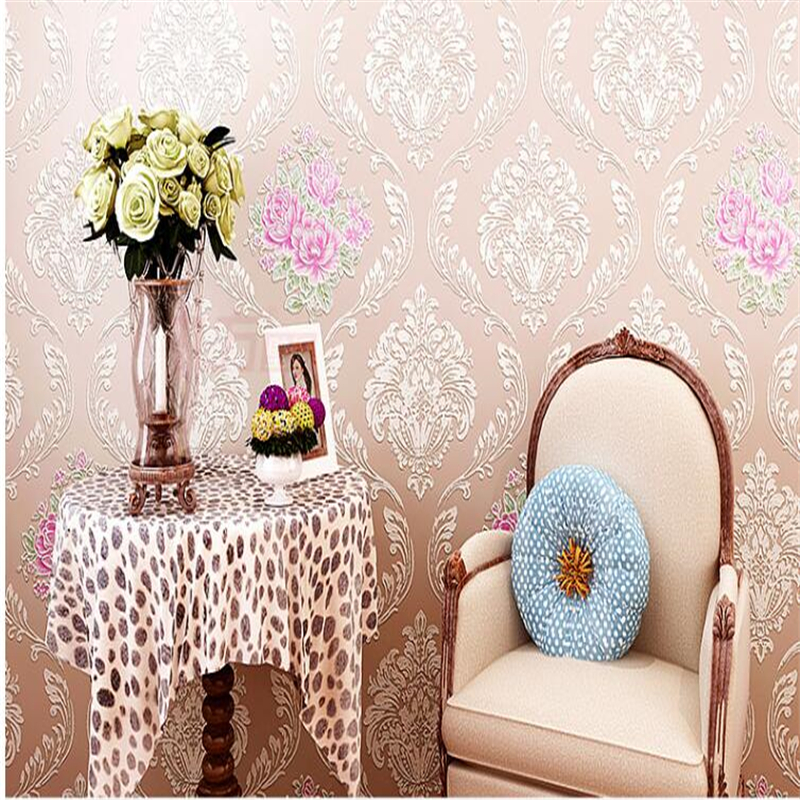 beibehang papel de parede Rural environmental protection non woven wall paper bedroom sweet romance embossed 3d wallpaper tapety<br>