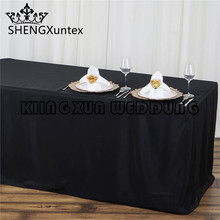 6FT \ 8FT Fitted Wholesale Polyester Table Cover Wedding Banquet Event Tablecloth