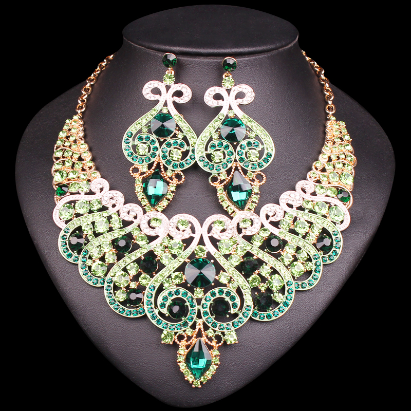Luxury Bridal Jewelry Sets Wedding Engagement Necklace Earring Set Women's Party Costume Accessories Indian Big Jewellery Gifts