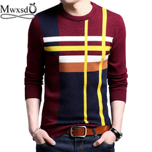 Mwxsd brand Men casual striped plaid pullover sweater autumn winter hombre male cotton Cashmere sweater pull homme jumpers(China)