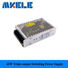 Fast delivery nice quality T-60A 5/12/-5v 60w triple output Switching Power Supply for LED Strip Light, Input 110/220VAC(China)
