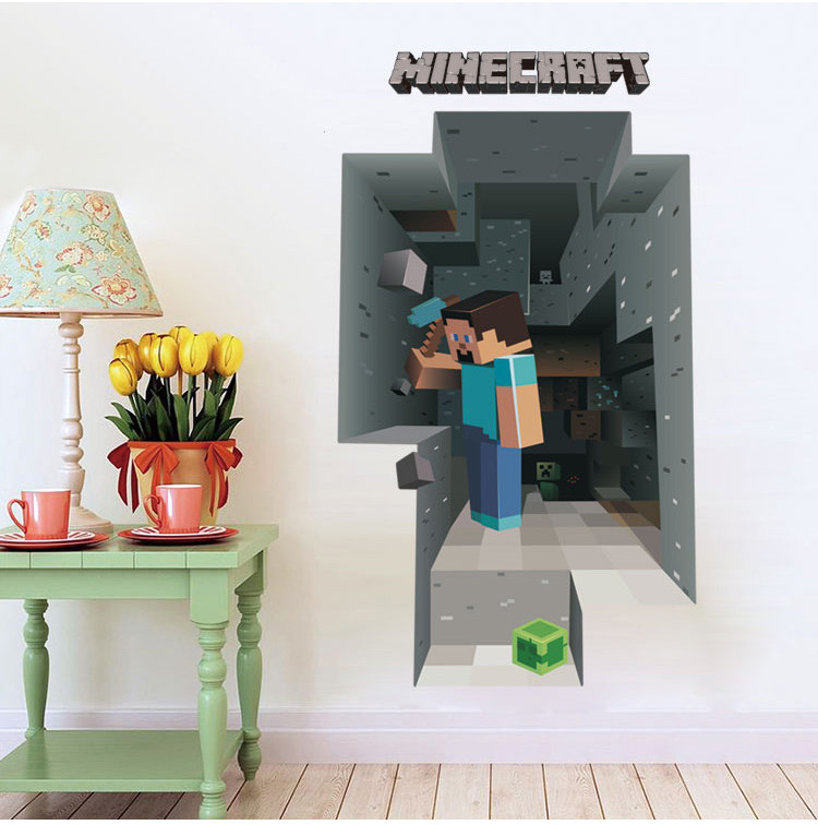 HTB1JzPRe6uhSKJjSspaq6xFgFXar - Newest Minecraft Wall Stickers 3D Wallpapers Kids Room Decals Minecraft Steve Home Decoration Popular Games Home Free Shipping