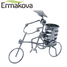ERMAKOVA Metal Bicycle Model Retro Tricycle Pen Pencil Cup Pot Holder Container Organizer Iron Man Home Office Decor(China)