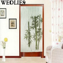 Japanese Style Bamboo Print Door Curtain Tapestry Room Divider Room Door Curtain Cover Home Decorative Textiles Doorway Curatin
