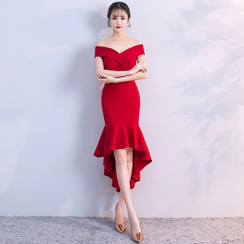 2018 Ruffles Plus Size Limited Mermaid Evening Dresses High Low Boat Neck Red Formal Party Gown Vestido Robe De Soiree Festa