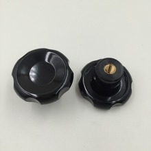 M8 x 50mm Dia Thread Black Plastic Star Head Clamping Knob Grip 5pcs
