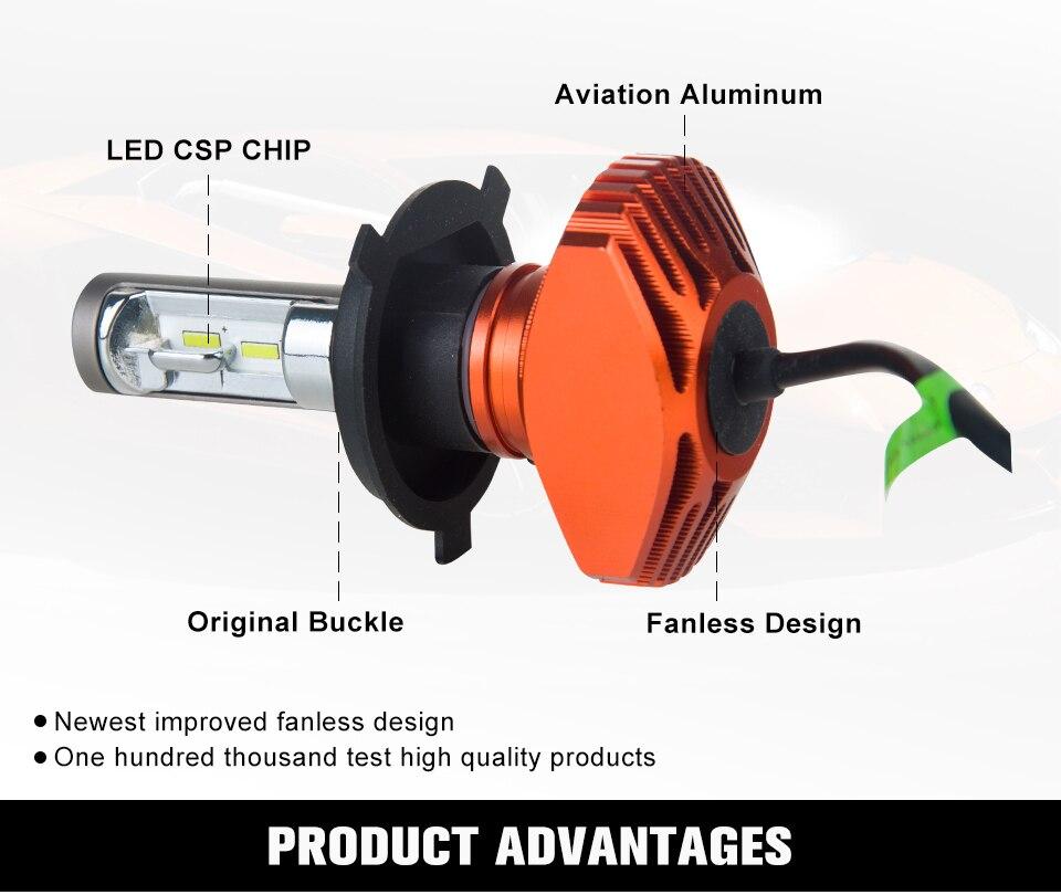 Zdatt AcooSun H4 H7 Led Car Bulb H11 H1 CSP LED Auto Headlight 80W 8000LMSet 9005HB3 9006HB4 H3K Led Fog Light White 6000K 12V 24V (2)