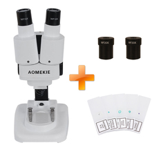 AOMEKIE 20X/40X Binocular Stereo Microscope Top LED Illumination PCB Solder Specimen Watching Kids Science Education with Slides(China)