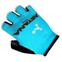 2017 ASTANA PRO TEAM BLUE Cycling Bike Gloves Bicycle Gel Half Finger Glove One Pair Size M-XL
