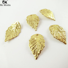 Copper leaves beads Accessories wholesale leaf pendants Gold Color Plated leaf connectors jewelry making 18*10mm 50 pcs TK-133(China)