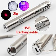 Multifunction 3 in 1 Mini USB Rechargeable LED UV Flashlight Torch Laser Penlight Outdoor Emergency Light W/hook