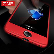 ZNP 360 Degree Full Coverage Case For Apple iPhone 7 7 Plus 6 6S Plus Cover phone bag For Apple iPhone 7 6 Cases With Glass Film