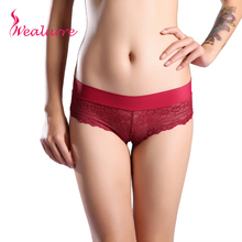 Wealurre brand Women's lace silk Sexy Underwear Luxury Briefs Seamless female Panties Full Transparent Underpant Delicate Panty(China)
