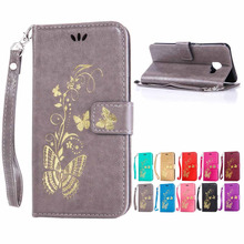 coque funda Galaxy C5 case Golden butterfly pattern leather flip stand cover case For Samsung GALAXY C5 C5000 phone caso capa