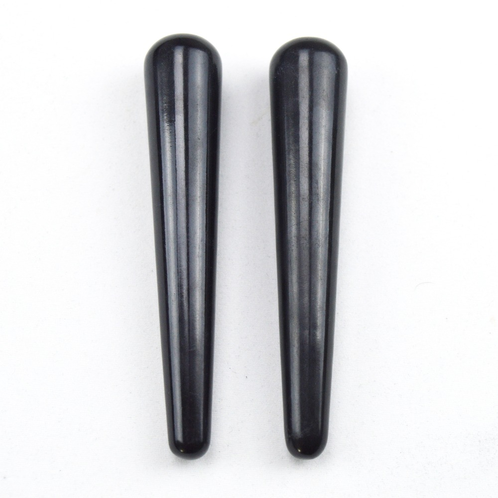 1 Pack = 2 pieces 100% natural obsidian massage stick beauty massage wands for body massage yoni wand<br><br>Aliexpress