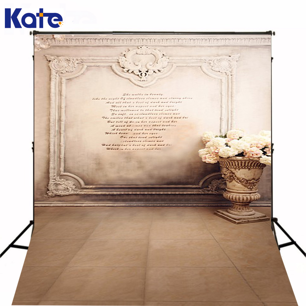 Kate Custom Made Background Fundo Stone Vase Wall Brick Wall Retro Flowers For Children Backgrounds Lk 2662<br>