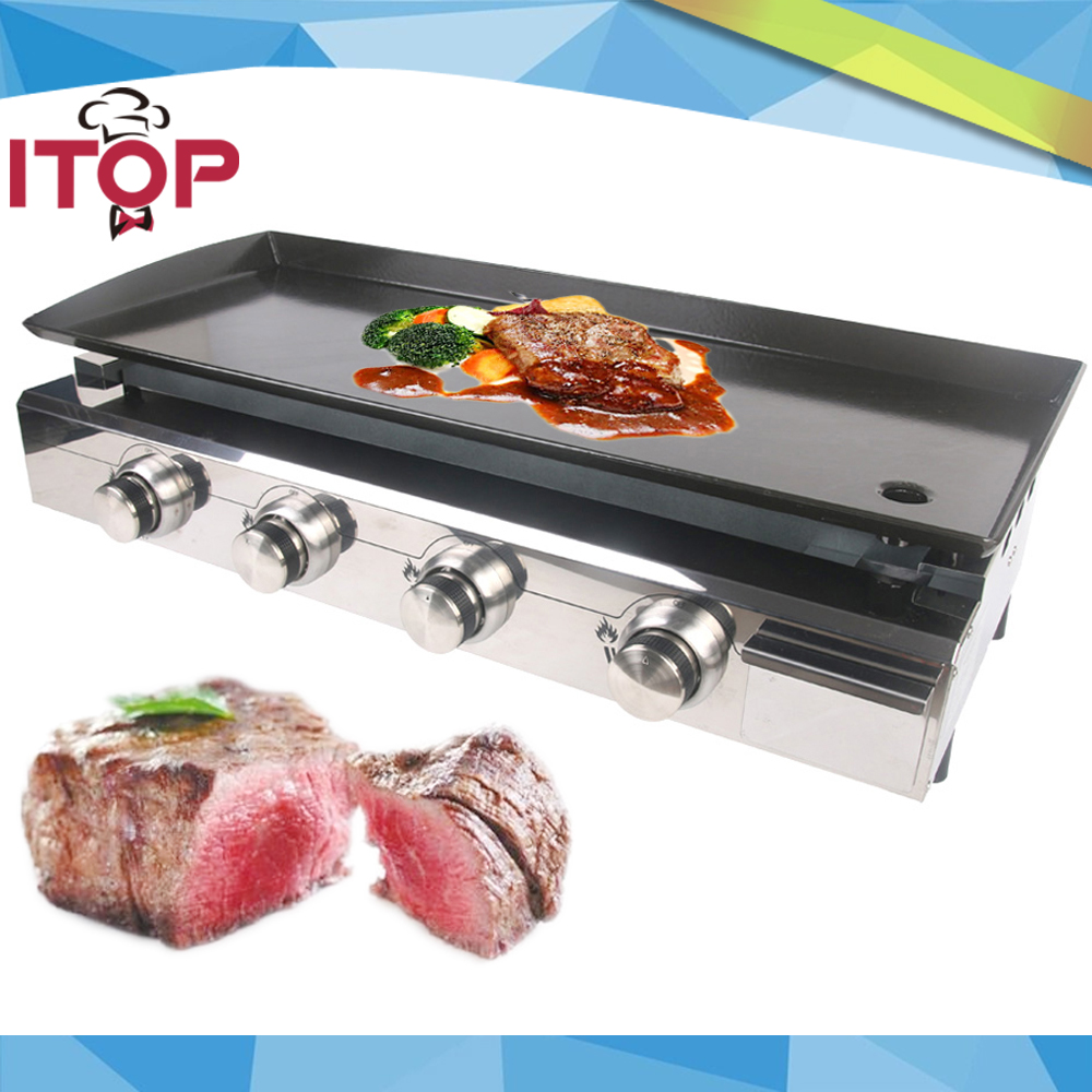 ITOP Gas BBQ Grill 4 burners LPG Griddle Plancha Stainless Steel Body +burner Cast Iron Hot Plate(China)