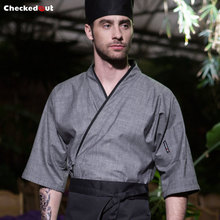 Japanese restaurant kimono style chef coat short sleeve grey unisex cook clothes for Japanese male and female chef(China)