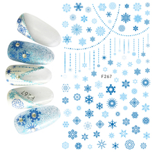 1pcs 3D Super Thin Nail Stickers Tips Nail Art Adhesive Decals Manicure Decoration Merry Christmas Snow Snowflak Nail Wraps F267