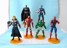 6pcs/set The Avengers Captain America Thor Spiderman batman hulk 15cm With stand Action Figures Toy(China)