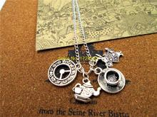 Fashion Alice in Wonderland necklace Teapot with teacup Clock rabbit Charm Pendant necklace(China)